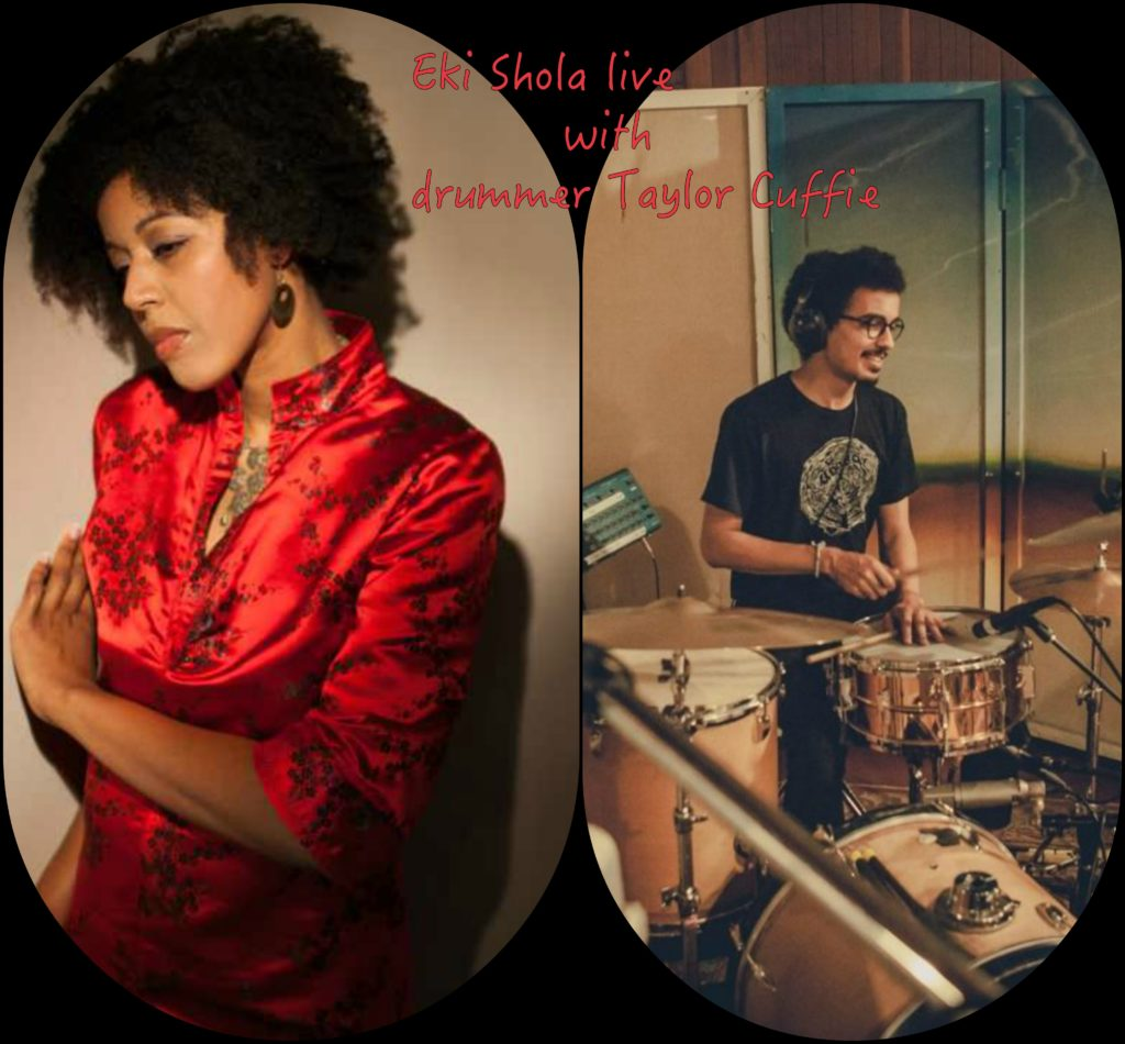 Photo of woman Eki Shola in red dressed next to man, Taylor Cuffie, playing drums