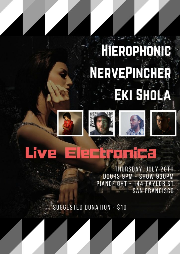 picture of woman and artists Hierophonic, Eki Shola and NervePincher, Live Electronica