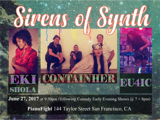 Picture of 3 women and one band, a showcase titled Sirens of synth, live electronica showcase featuring Eki Shola, ContainHer and Eu4ic